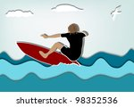 surfer and a seagull a summer... | Shutterstock .eps vector #98352536