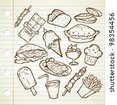 junk food doodle | Shutterstock .eps vector #98354456