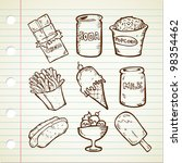 Collection Of Snack In Doodle...
