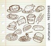 junk food doodle | Shutterstock .eps vector #98354468