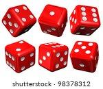 Set Of Red Casino Craps Or...