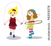 two children playing | Shutterstock .eps vector #98393078