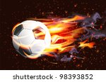 soccer ball on fire | Shutterstock .eps vector #98393852