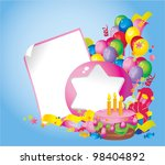 Bright Holiday composition of  cake, balloons, gift boxes, confetti, sweets, Streamer and  Frame for your text congratulations - stock vector