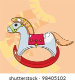 Children's picture - a rocking horse. - stock vector