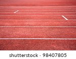 sideview of a red running track | Shutterstock . vector #98407805