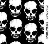 skull monochromatic seamless pattern - stock vector