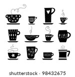 silhouette of cup of tea or... | Shutterstock .eps vector #98432675