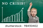 Cheerful smiling child at the blackboard. School and business  concept - stock photo