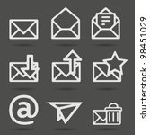 Envelope, plane, shopping and other icons for e-mail