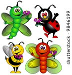 Butterfly,Dragonfly,Ladybug and Bee Vector. - stock vector