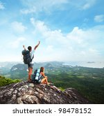 young tourists with backpacks... | Shutterstock . vector #98478152