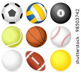 sport balls on white background.... | Shutterstock .eps vector #98503742