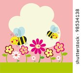 cute card with fun bee. vector... | Shutterstock .eps vector #98534138