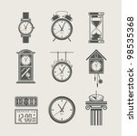 Retro And Modern Clock Set Ico...