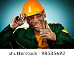oil industry worker on blue... | Shutterstock . vector #98535692
