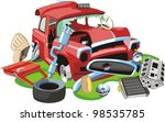 old crashed car and parts | Shutterstock .eps vector #98535785