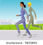 two girls run on park | Shutterstock .eps vector #9853804