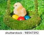 little chicken with colored... | Shutterstock . vector #98547392