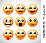 set of nine orange emoticons | Shutterstock .eps vector #98560232
