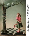 Stock photo illustration to the fairy tale alice in wonderland 98596652
