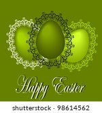 easter eggs with lace frames | Shutterstock .eps vector #98614562
