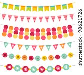 bunting and garland vector set. ... | Shutterstock .eps vector #98621726