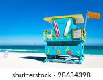 blue lifeguard tower in south... | Shutterstock . vector #98634398