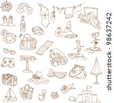 summer holiday doodle... | Shutterstock .eps vector #98637242
