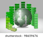a business chart designed in a semi-circle surrounding earth / global chart - stock photo