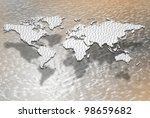 a map of the world filled with a binary code / digital globalization - stock photo