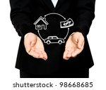 business hand hold insurance... | Shutterstock . vector #98668685