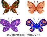 beautiful butterflies | Shutterstock .eps vector #9867244