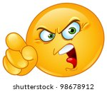 Angry Emoticon Pointing An...