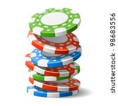 falling casino chips. vector. | Shutterstock .eps vector #98683556