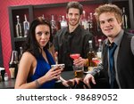 cocktail bar young happy... | Shutterstock . vector #98689052