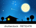 stars and moon in the night sky ... | Shutterstock .eps vector #98731478