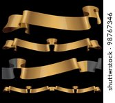 gold glossy ribbons on a black... | Shutterstock .eps vector #98767346