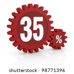 one percent icon made with two red cogwheels and the number 35 - stock photo