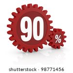 one percent icon made with two red cogwheels and the number 90 - stock photo