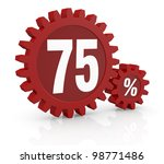 one percent icon made with two red cogwheels and the number 75 - stock photo