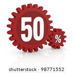 one percent icon made with two red cogwheels and the number 50 - stock photo