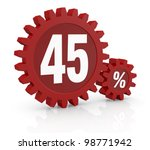 one percent icon made with two red cogwheels and the number 45 - stock photo