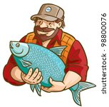 fisherman with fish. vector... | Shutterstock .eps vector #98800076
