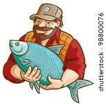fisherman with fish. vector... | Shutterstock .eps vector #98800076