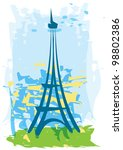 hand drawn abstract eiffel... | Shutterstock .eps vector #98802386