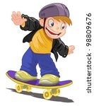 boy on skateboard vector on... | Shutterstock .eps vector #98809676