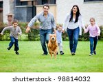 happy family running with their ... | Shutterstock . vector #98814032