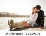 young happy couple together   ... | Shutterstock . vector #98869175