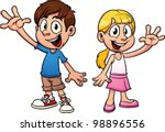 Cute Cartoon Kids Waving Hello...
